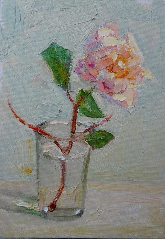 """Rose in Winter,still life,oil on canvas,7x5,price$175"" original fine art by Joy Olney"