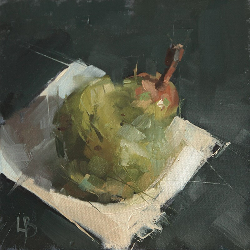 """Pear on White Card"" original fine art by Ollie Le Brocq"