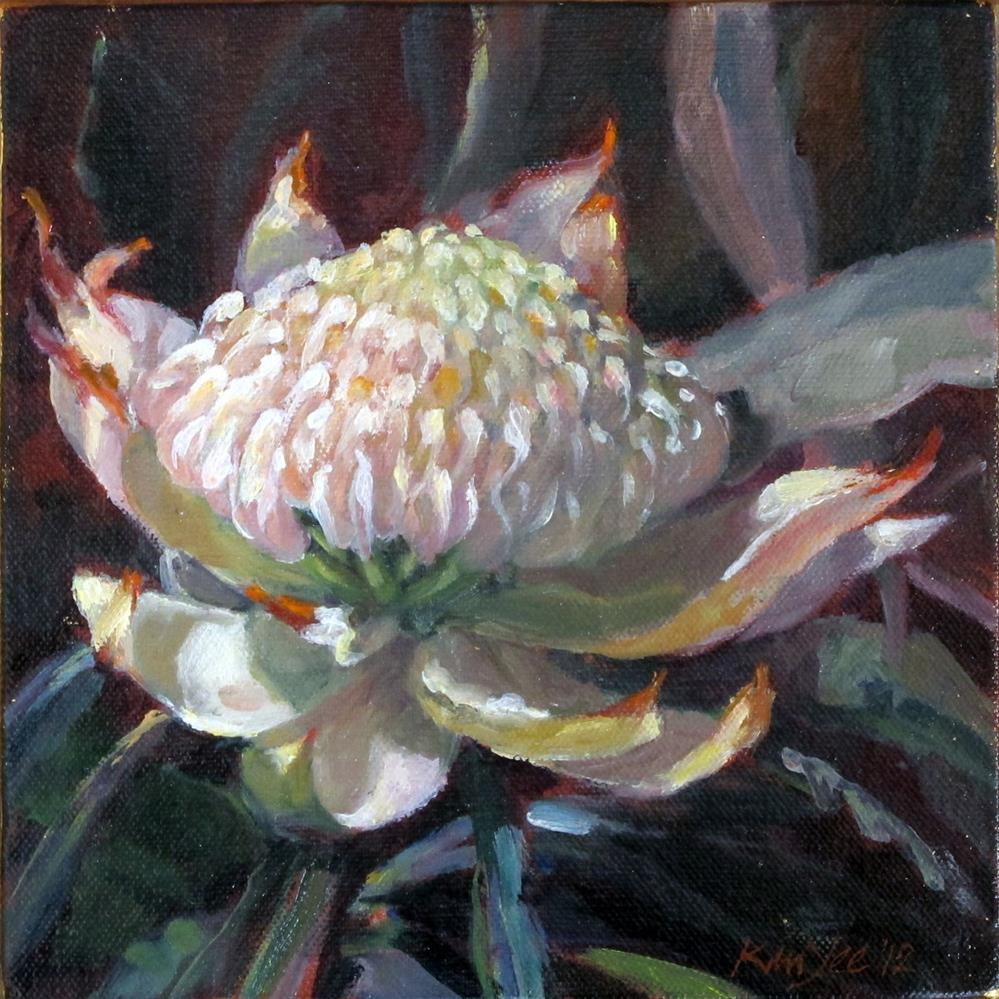 """White Waratah"" original fine art by Myriam Kin-Yee"