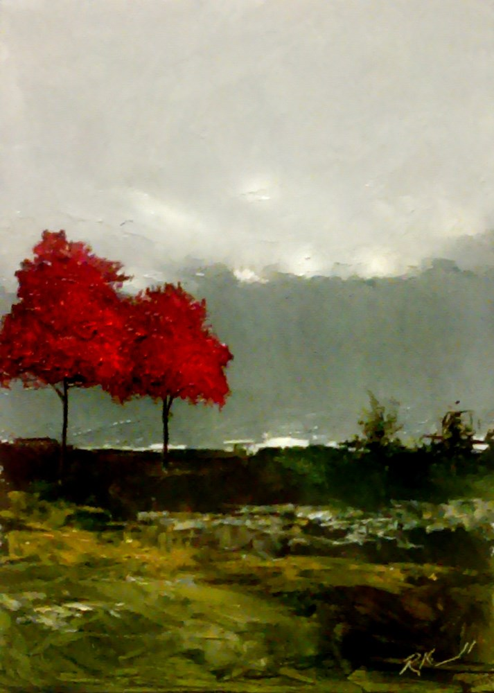 """Two Trees on the Hill"" original fine art by Bob Kimball"