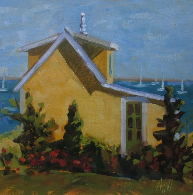 """Finial House Provincetown- 8x8   A beautifully renovated cottage in Provincetown"" original fine art by Mary Sheehan Winn"