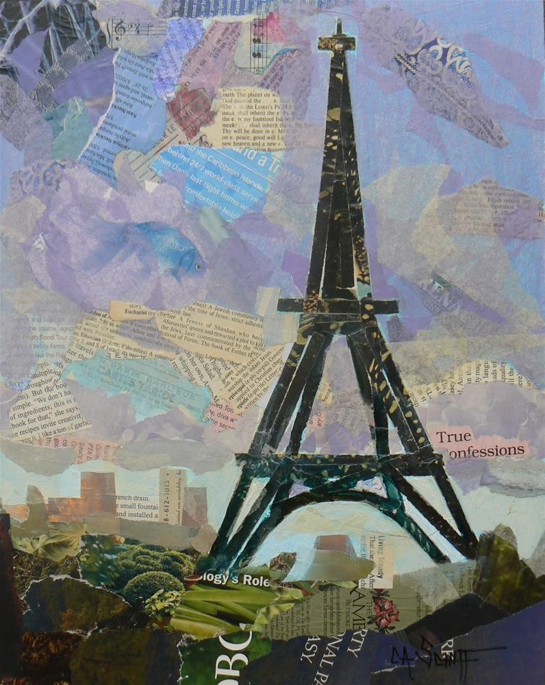 """Art Sale, Eiffel Tower Collage, Tour Eiffel by Carol Schiff, 11x14 Original Collage"" original fine art by Carol Schiff"