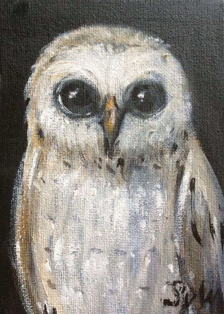 """Big eyed owl"" original fine art by Sonia von Walter"