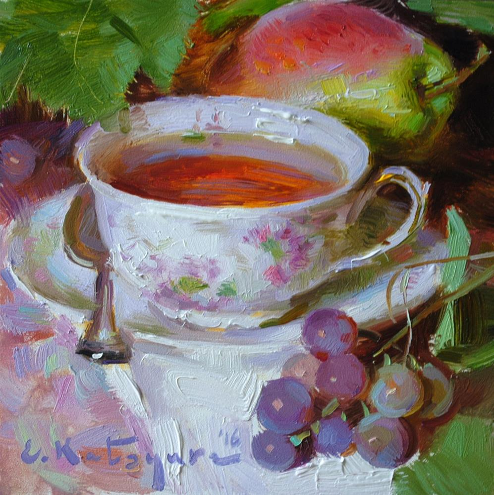 """Tea, Pear and Grapes"" original fine art by Elena Katsyura"