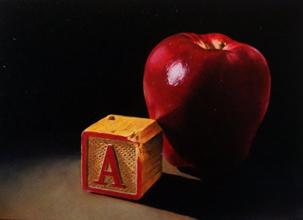 """A is for Red Delicious (Apple...:-)"" original fine art by Jacqueline Gnott, whs"