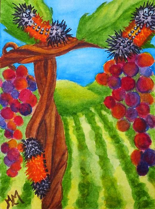 """Hanging in the Vineyard"" original fine art by Monique Morin Matson"