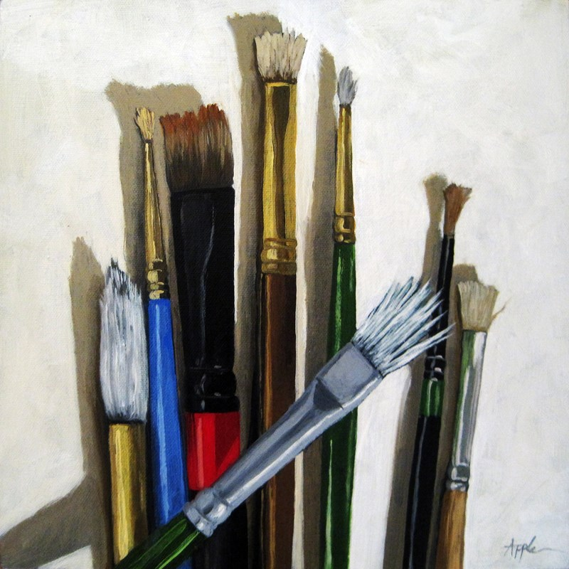 """Tools of the Trade Artist Brushes still life oil painting"" original fine art by Linda Apple"