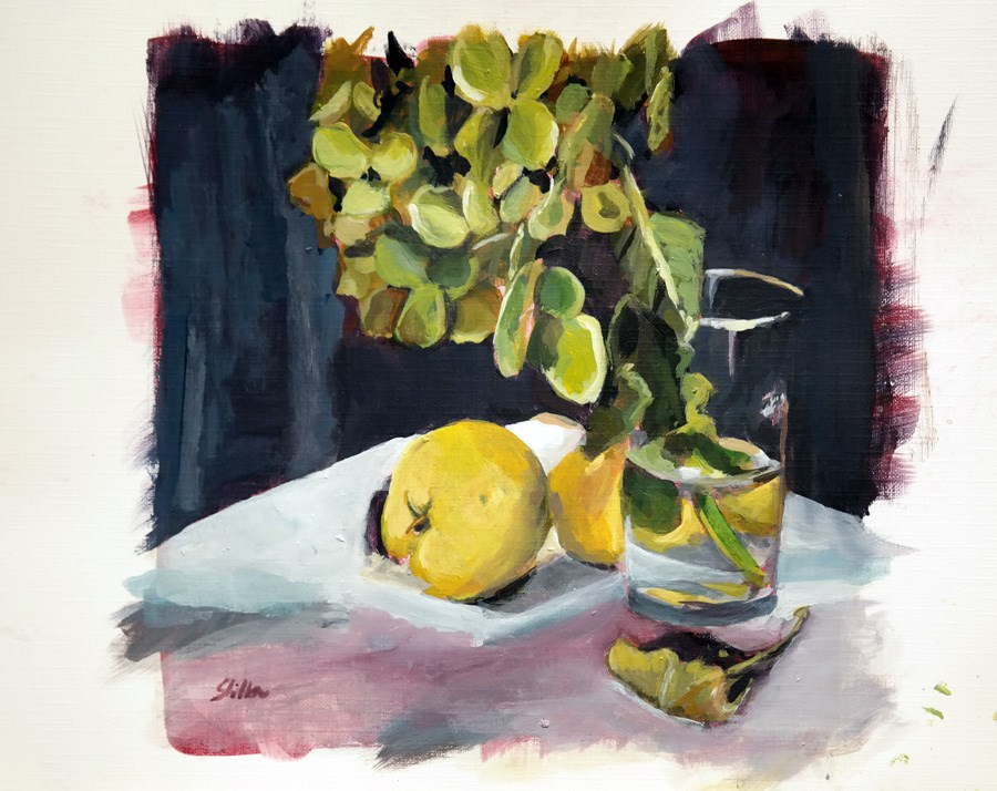 """1528 Quince and Hydrangea"" original fine art by Dietmar Stiller"