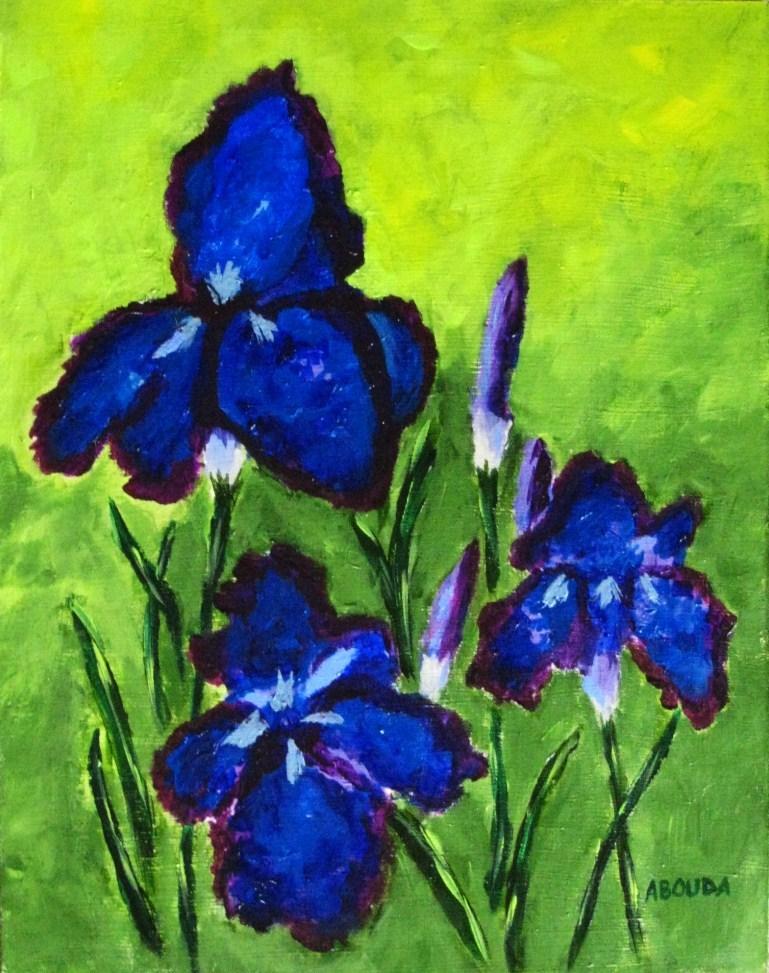 """Deep Blue and Purple Irises"" original fine art by Sandy Abouda"