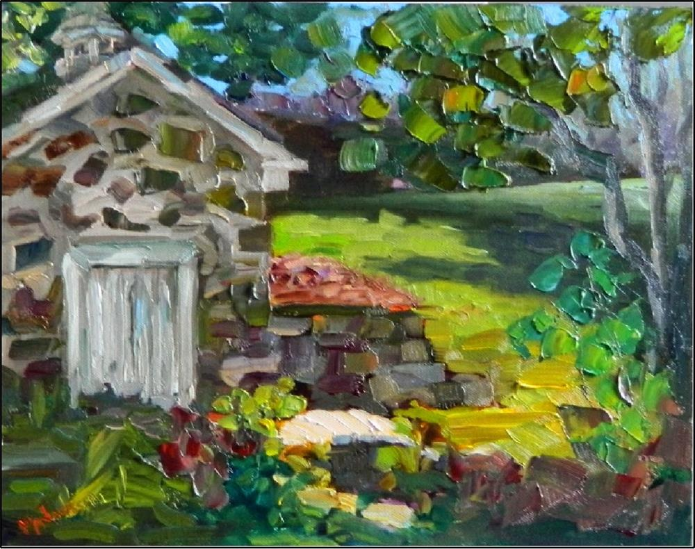 """Vixen Hill Springhouse, plein air sketch, 11x14, oil on panel, Chester Springs, Pennsylvania, quai"" original fine art by Maryanne Jacobsen"