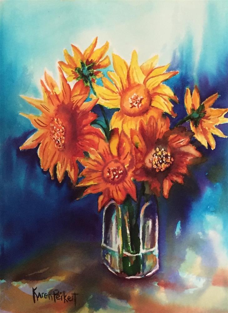 """Sunflowers in Brusho"" original fine art by Karen Peikert"
