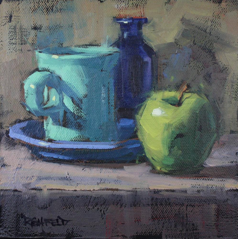 """Blues with Apple"" original fine art by Cathleen Rehfeld"