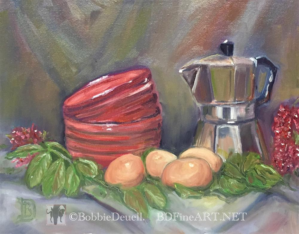 """#32 Loren's Hen's Contribution"" original fine art by Bobbie Deuell"