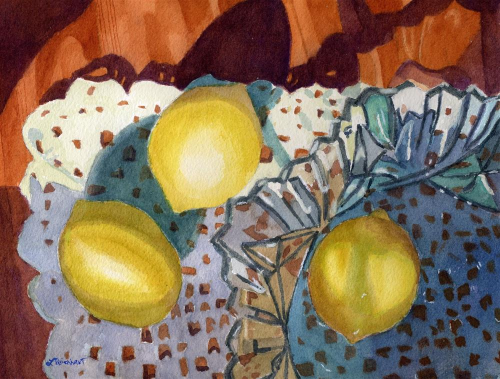 """Lemons and Lace"" original fine art by Lynne Reichhart"