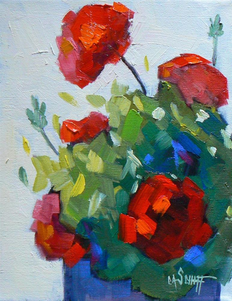 """Small Floral Still Life, Geranium Joy 8x10 Oil"" original fine art by Carol Schiff"