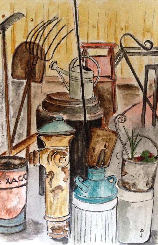 """""""Flea Market #2 9 x 6 watercolor/ink"""" original fine art by Nancy Beard"""