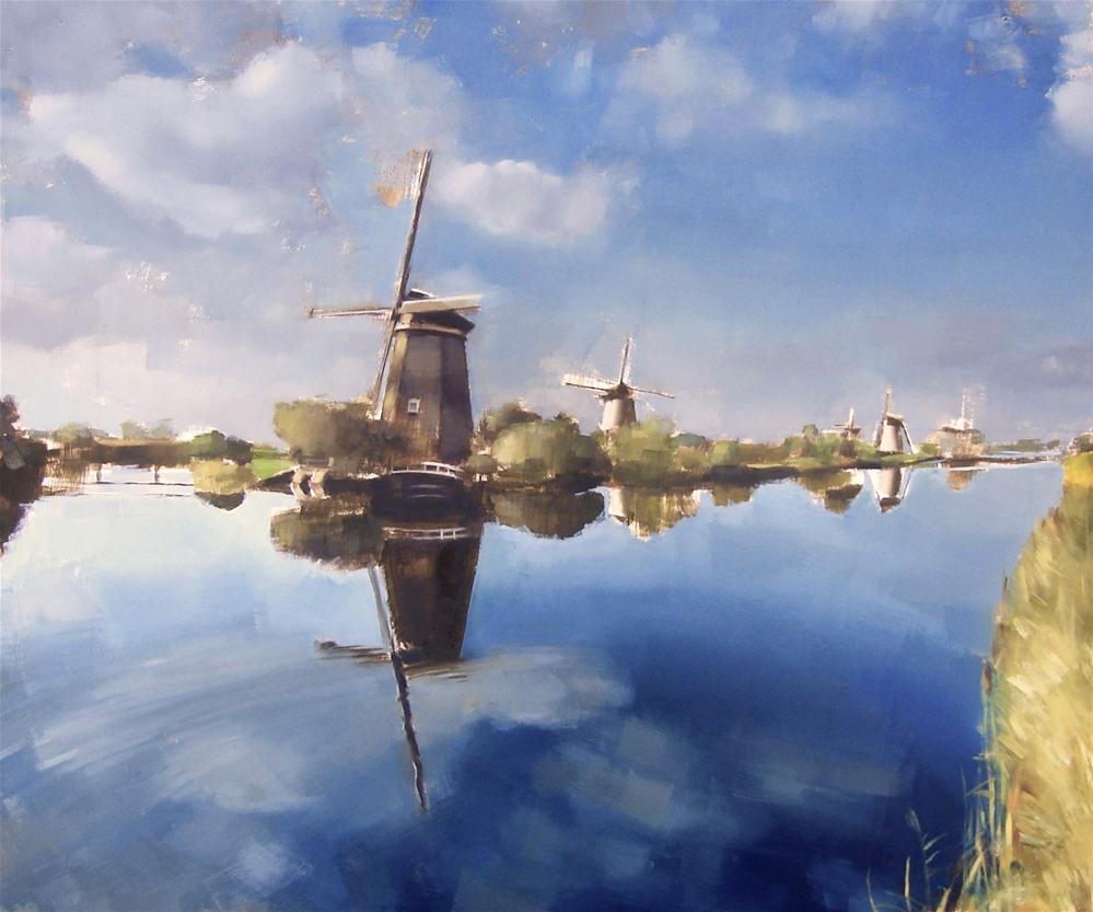 """Commision no.1 - Dutch Landscape with Windmills"" original fine art by Michael William"