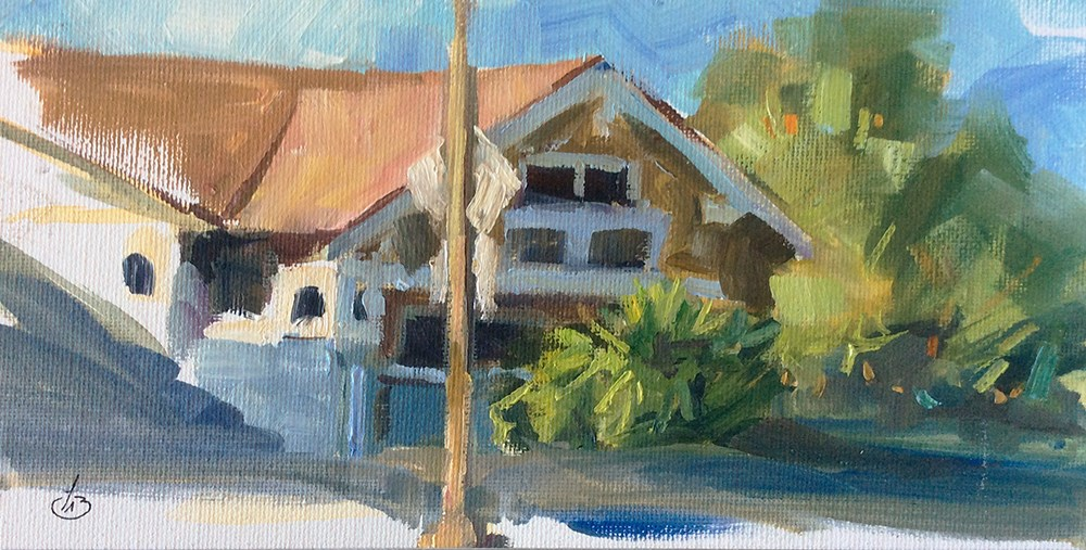 """UNFINISHED STUDY OF AN AMERICAN BUNGALOW"" original fine art by Tom Brown"