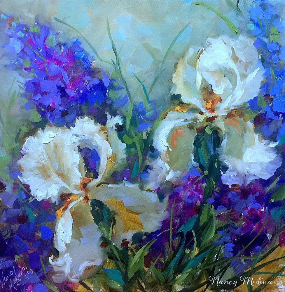 """Sapphire Lace Irises"" original fine art by Nancy Medina"
