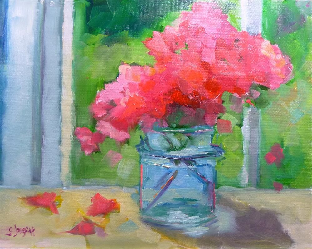 """Azaleas in glass jar"" original fine art by Carol Josefiak"
