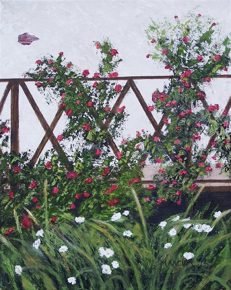 """Roses on a walk"" original fine art by John Marcum"