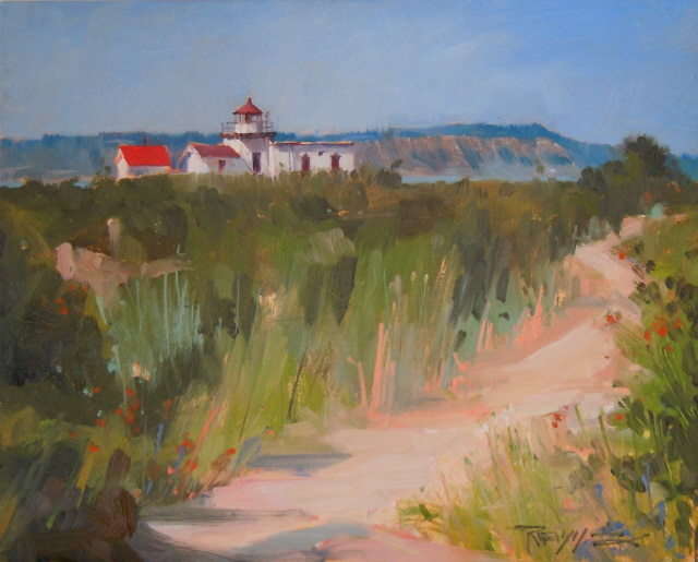 """Lighthouse Trail   Point no Point Lighthouse, Hansville Washington, oil painting by Robin Weiss"" original fine art by Robin Weiss"
