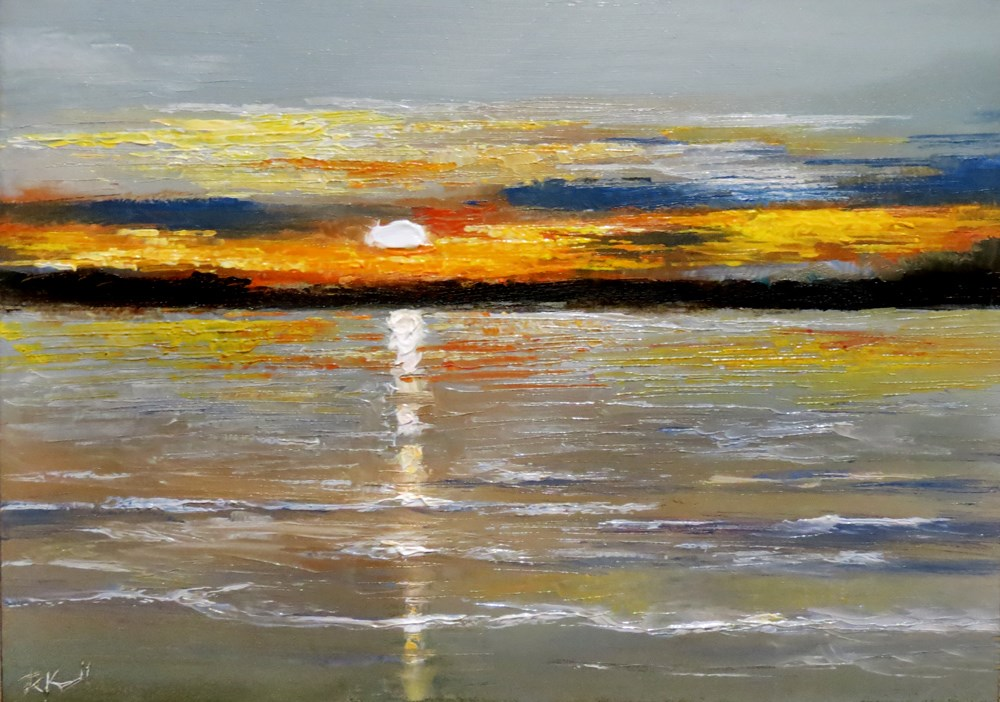 """Sunset on the Beach"" original fine art by Bob Kimball"
