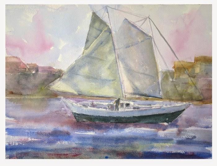 """Shelter Island, San Diego"" original fine art by Katharine Engh"