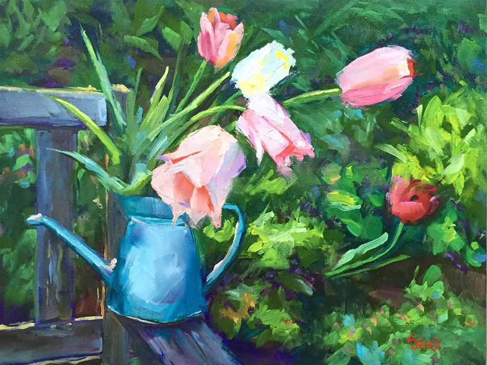 """Cutting Tulips"" original fine art by Andrea Jeris"