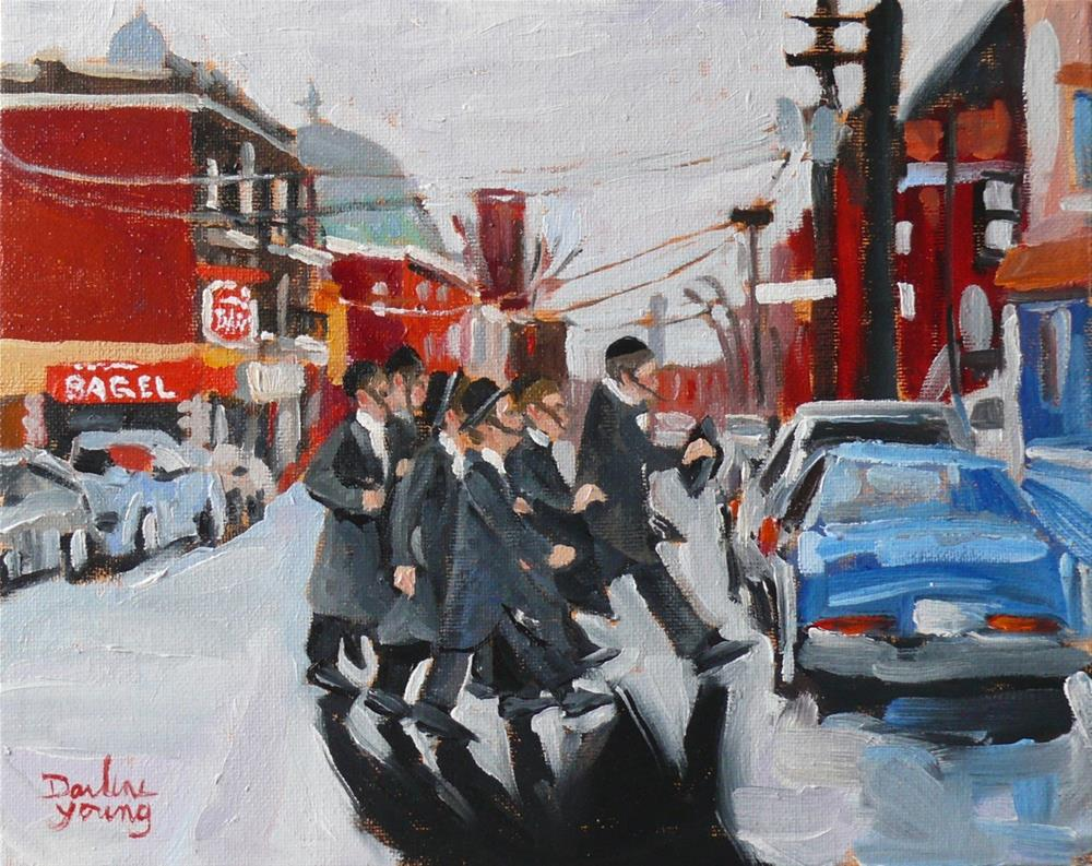 """912 Montreal Winter Scene, St-Viateur, 8x10, oil on board"" original fine art by Darlene Young"