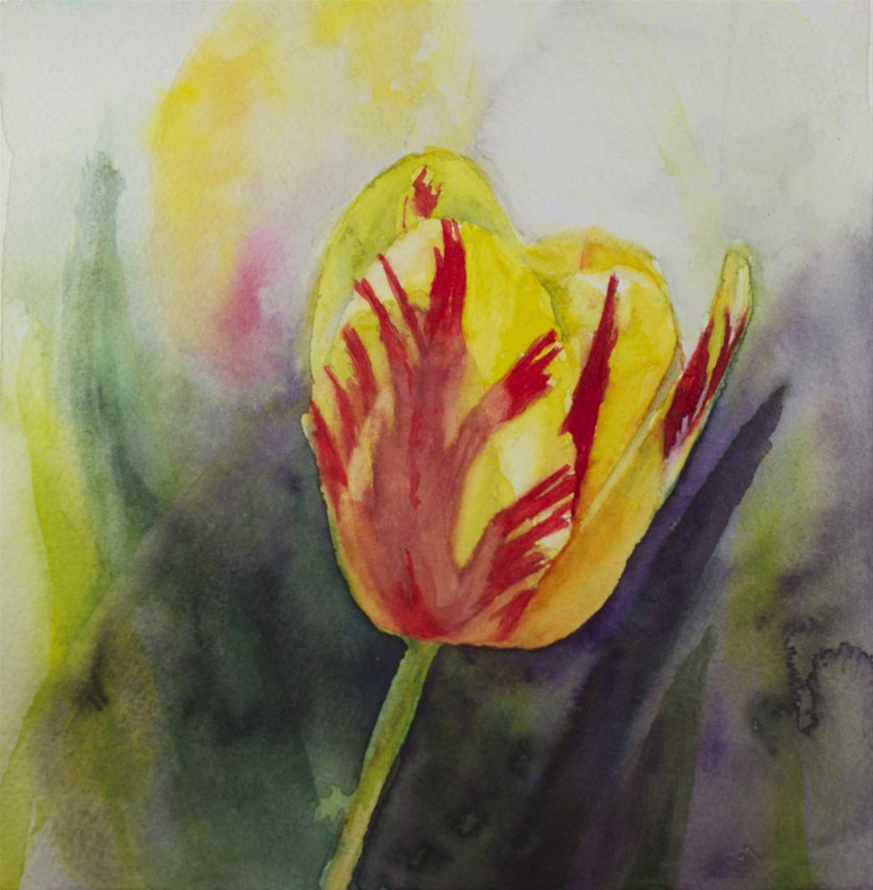 """Flame Tulip"" original fine art by Sue Churchgrant"