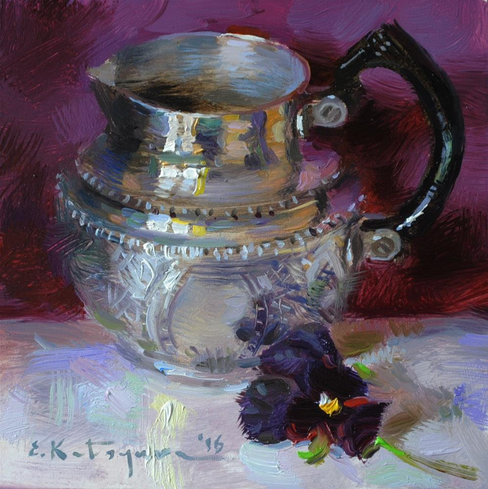 """Creamer and Purple"" original fine art by Elena Katsyura"