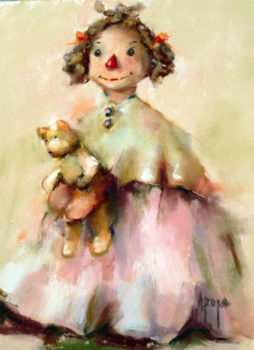 """Rag Doll With Red Nose"" original fine art by Anne Marie Propst"