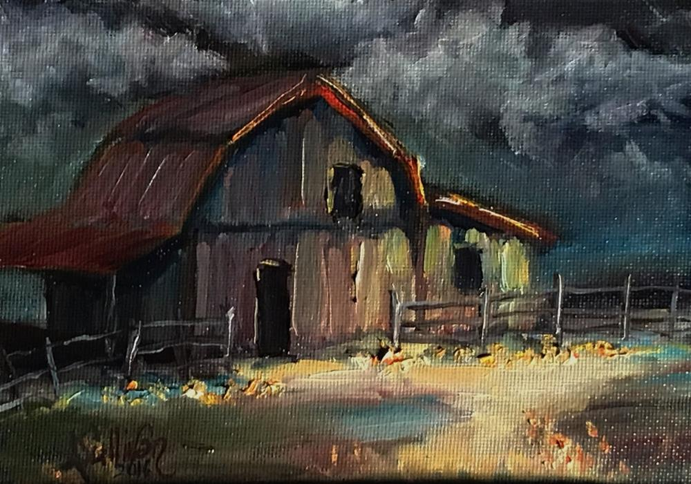 """Under Dark Skies barn painting by Alabama Artist Angela Sullivan"" original fine art by Angela Sullivan"