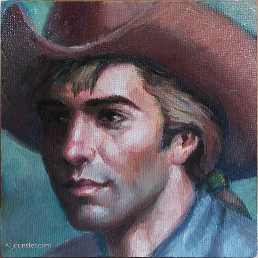 """Pretty Cowboy (mini painting)"" original fine art by J. Dunster"