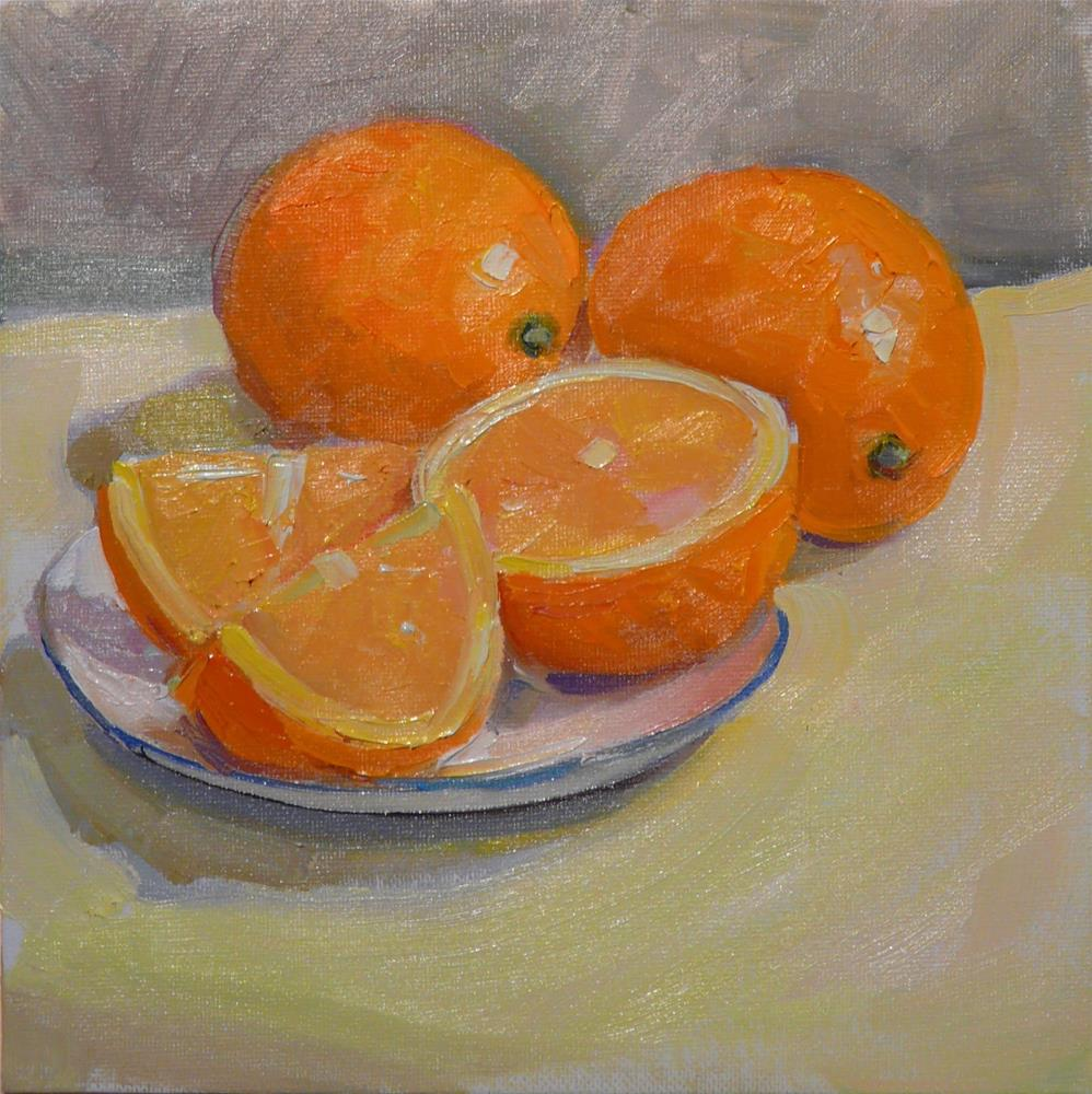 """Plate of Oranges,still life,oil on canvas,8x8,price$250"" original fine art by Joy Olney"