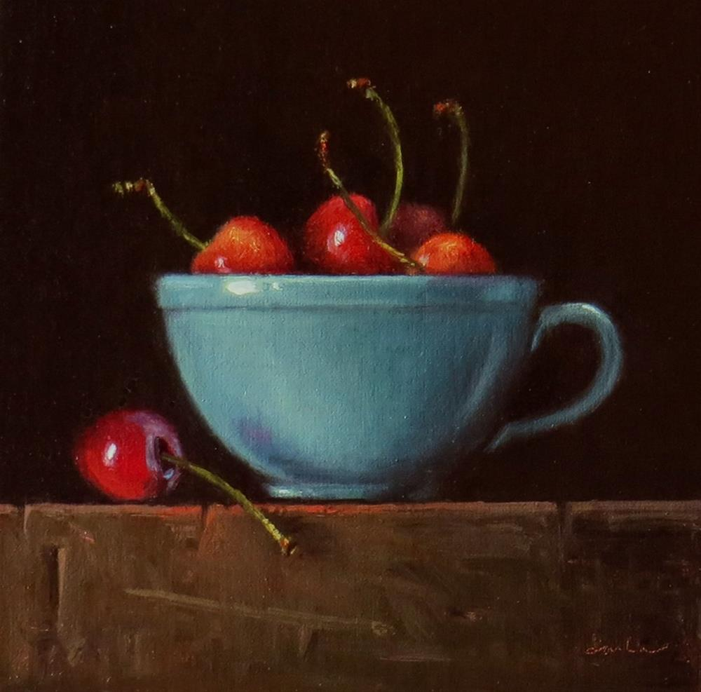"""Turquoise Teacup with Rainier Cherries"" original fine art by Darla McDowell"