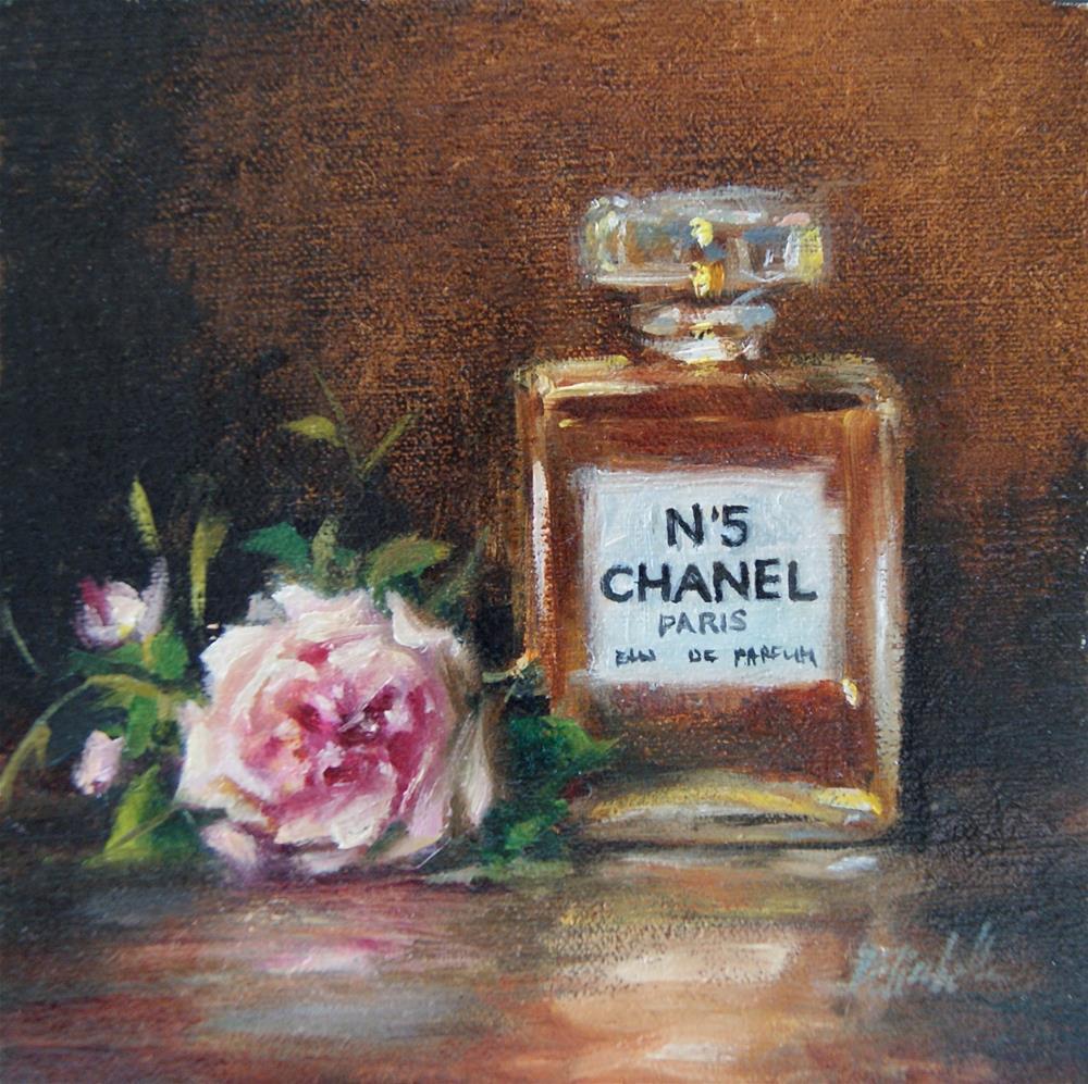 """Still Life with Chanel No.5 and Rose,  Oil on 6x6 Linen Panel"" original fine art by Carolina Elizabeth"