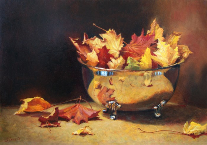 """Autumn in a Silver Bowl"" original fine art by Susan N Jarvis"