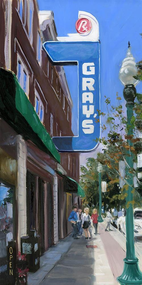 """Historic Gray's Drug in Franklin TN"" original fine art by Chris Ousley"
