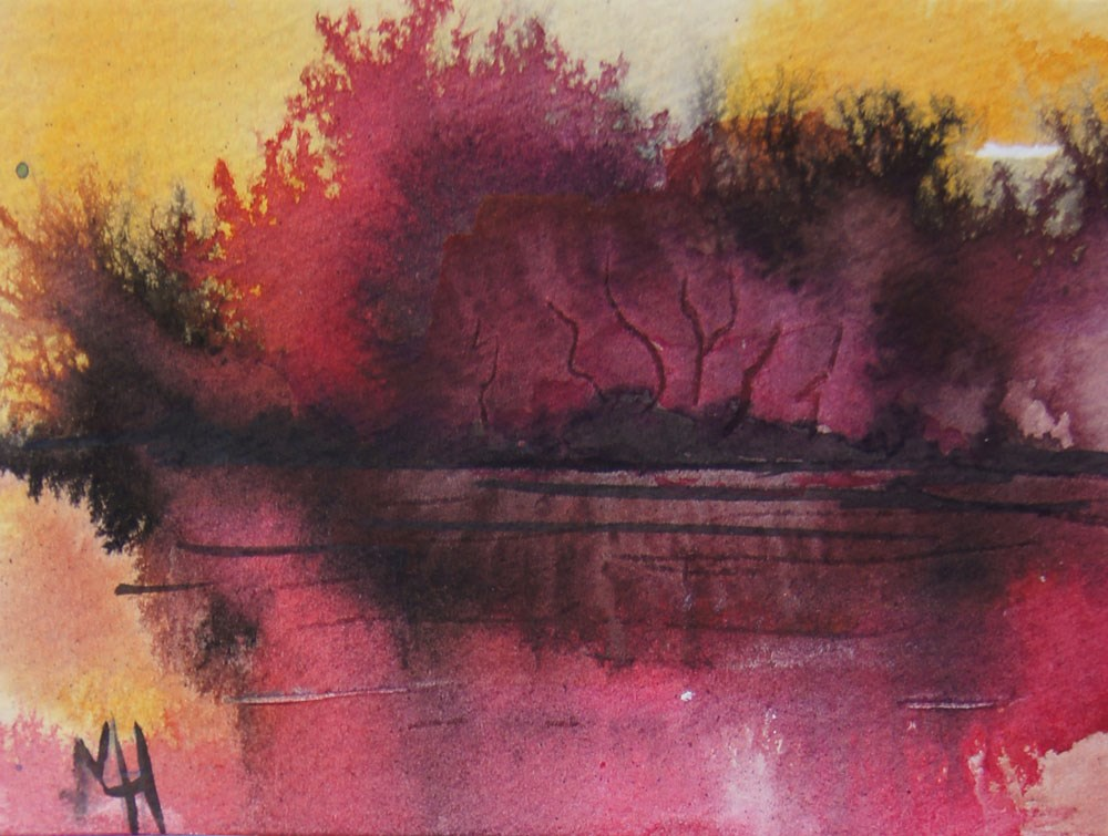 """Sunrise at the lake 3 ACEO"" original fine art by Marion Hedger"