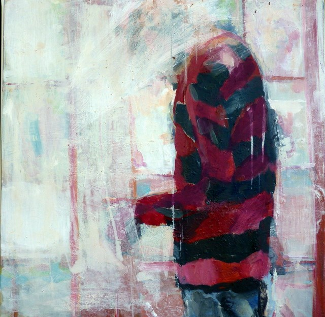 """Junger Mann im rot-gestreiftem Pullover / Young man in red striped pullover"" original fine art by Mila Plaickner"