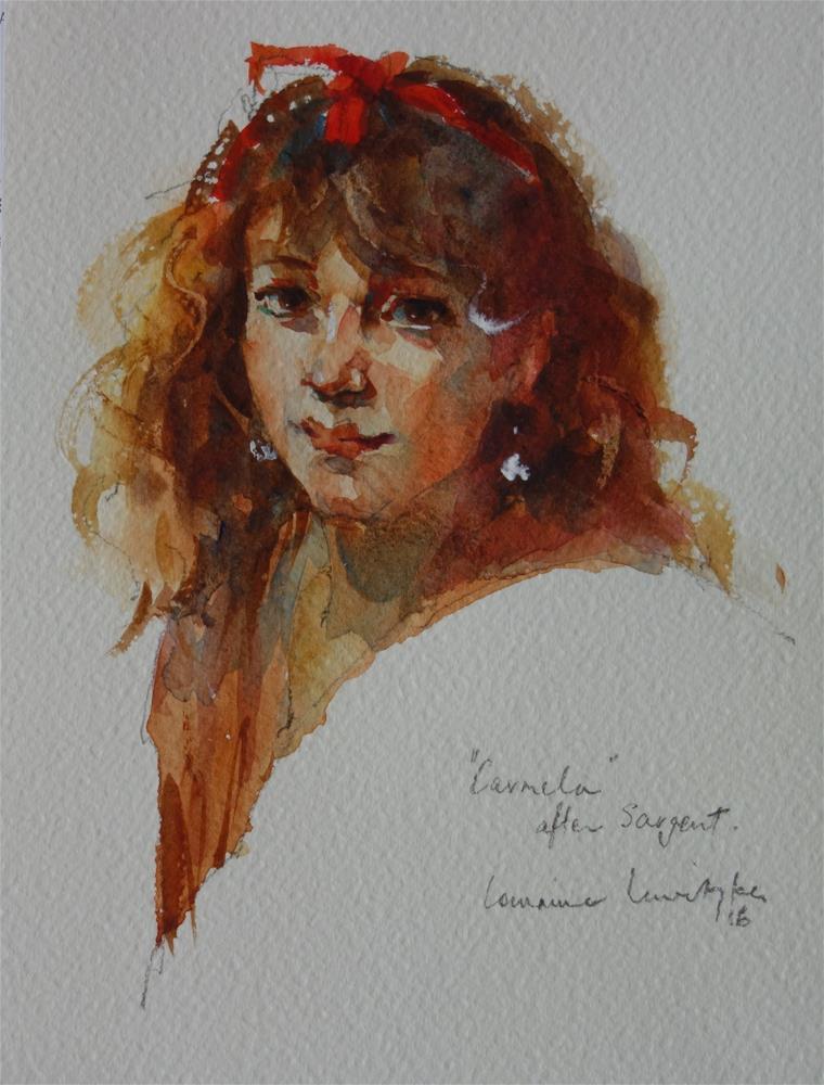 """""""Portrait #9 Carmela after Sargent"""" original fine art by Lorraine Lewitzka"""