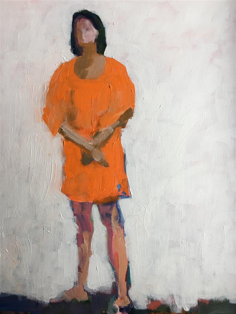 """Woman in orange dress"" original fine art by Christine Parker"