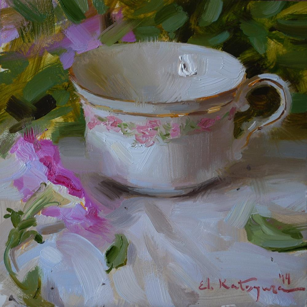 """Teacup and  flower"" original fine art by Elena Katsyura"