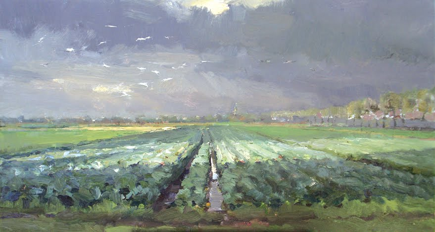 """Dutch landscape #5 fields of Brussels sprouts"" original fine art by Roos Schuring"