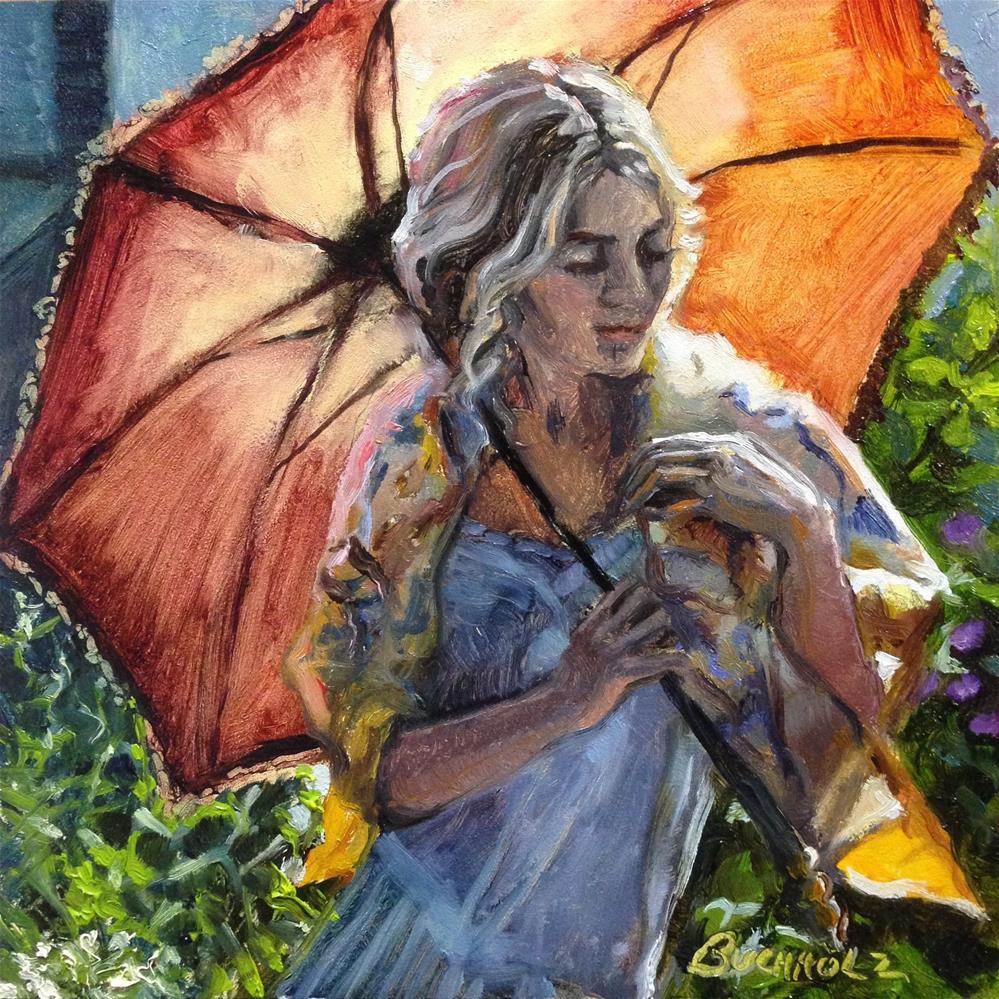 """Red Parasol"" original fine art by Terri Buchholz"