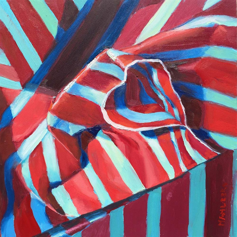 """Striped Paper in Blue and Red"" original fine art by Cynthia Mahlberg"