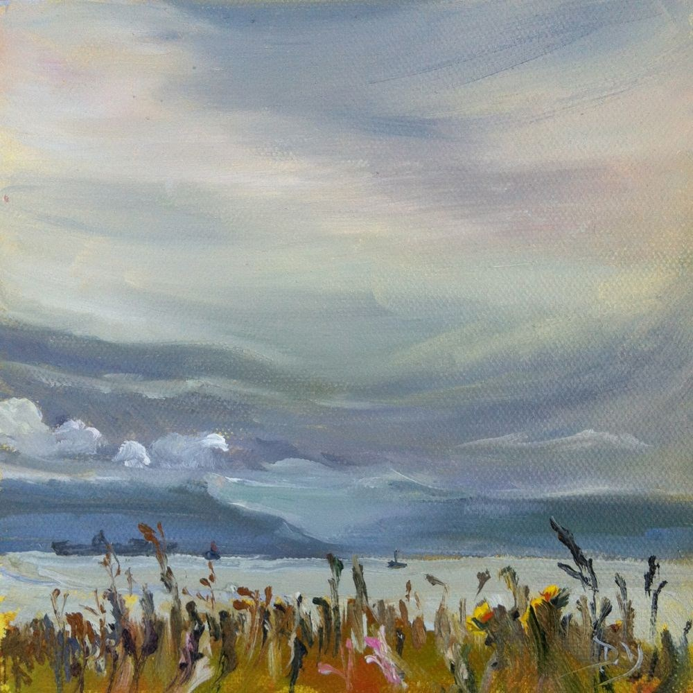"""Holland Point June Sky, oil on canvas panel, 6x6"" original fine art by Darlene Young"