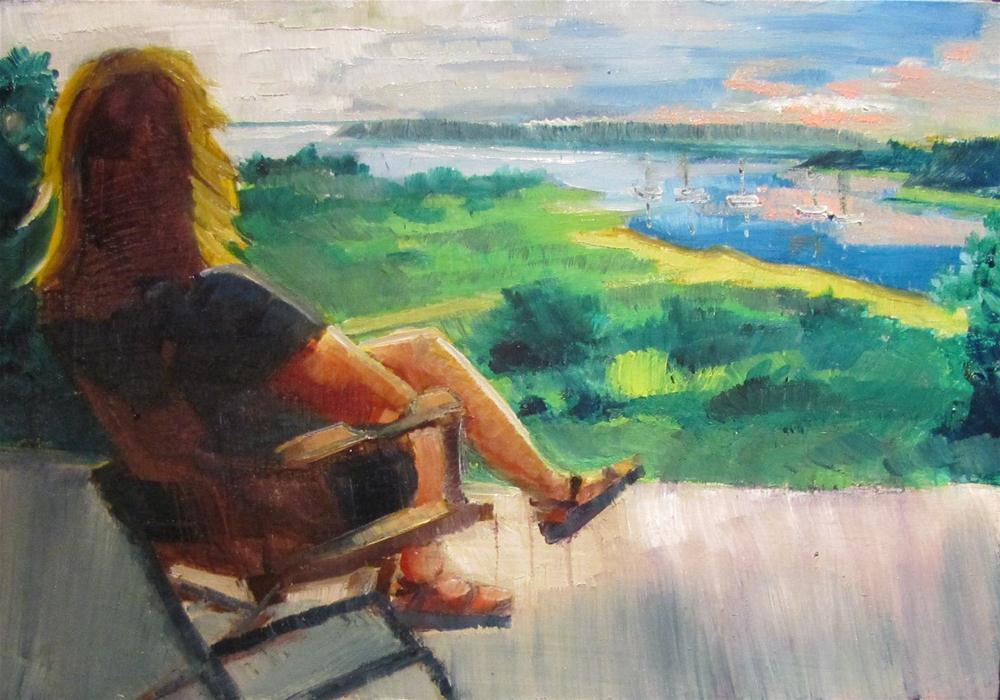 """View From the Porch  5x7 oil  $100"" original fine art by Christine Holzschuh"